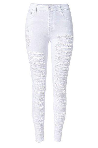 Chic High-Waisted Solid Color Broken Hole Design Women's Jeans - WHITE S