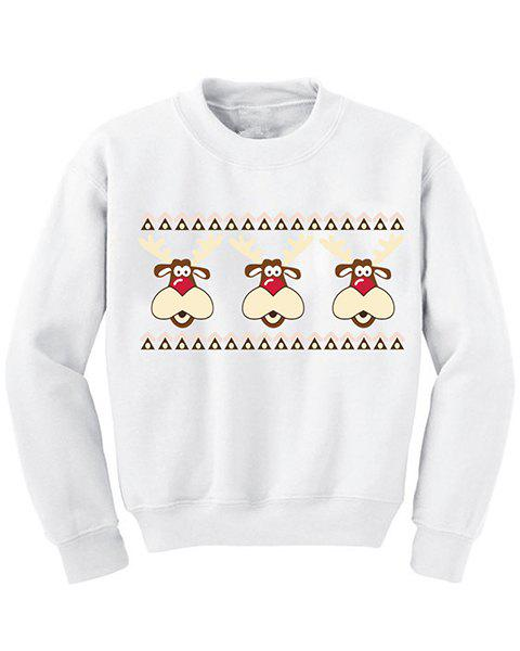 Sweet Snowman Print Round Neck Long Sleeve Christmas Sweatshirt For Women - WHITE M