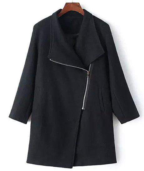 Stylish Turn-Down Collar Long Sleeve Loose-Fitting Zip Up Women's Coat