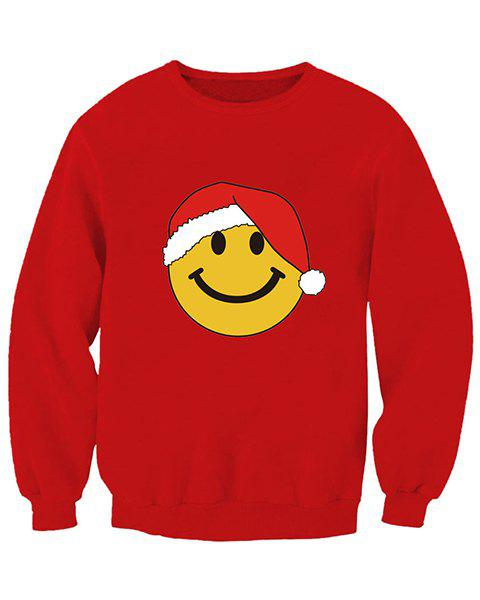 Cute Face Print Round Neck Long Sleeve Christmas Sweatshirt For Women - RED M