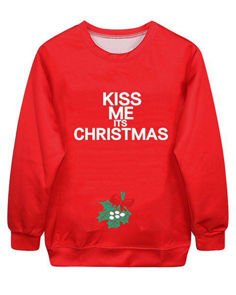 Sweet Letter Print Round Neck Long Sleeve Christmas Sweatshirt For Women - RED S