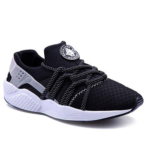 Casual Cross-Strap and Solid Color Design Men's Athletic Shoes - BLACK 37