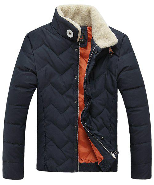 Stand Collar Wavy Grain Slim Fit Long Sleeve Men's Thicken Padded Coat - CADETBLUE XL