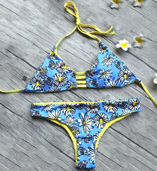 Fresh Style Halter Daisy Printed Multi Way Bikini Suit For Women - BLUE S