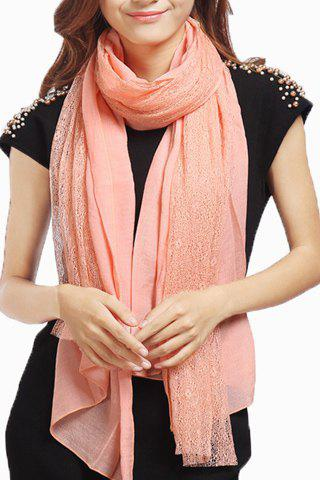 Chic Lace Matching Solid Color Women's Gauze Scarf - LIGHT PINK