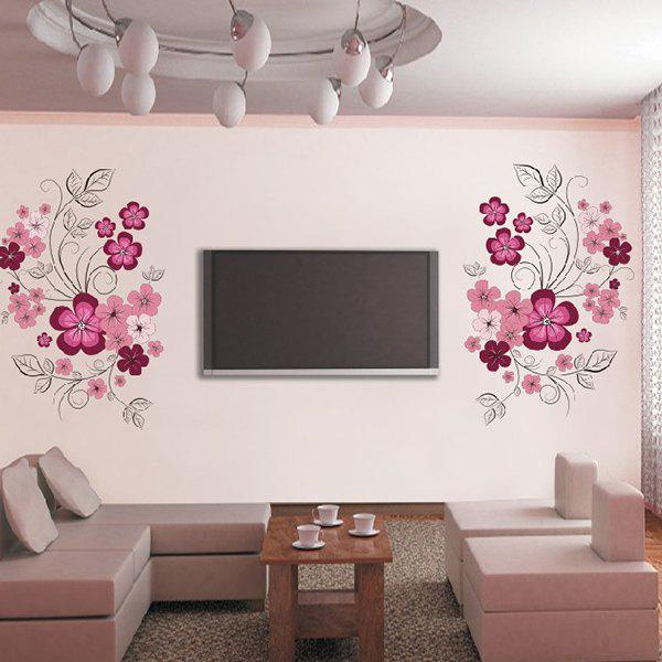 Creative 60*90cm Flower Pattern TV Background PVC Wall Stickers - COLORMIX