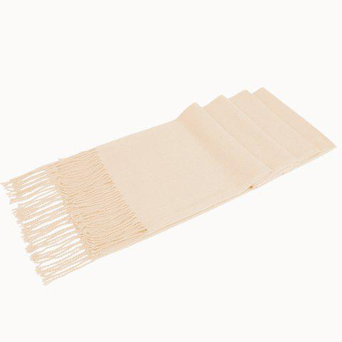 Chic Tassel Embellished Bright Color Women's Warmth Scarf - LIGHT KHAKI