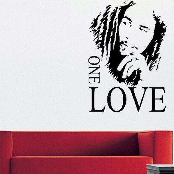 Creative 43*61cm Figure Letters One Love Wall Stickers For Home Decoration - BLACK