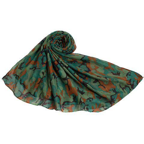 Chic Camouflage Print Women's Voile Scarf - GREEN