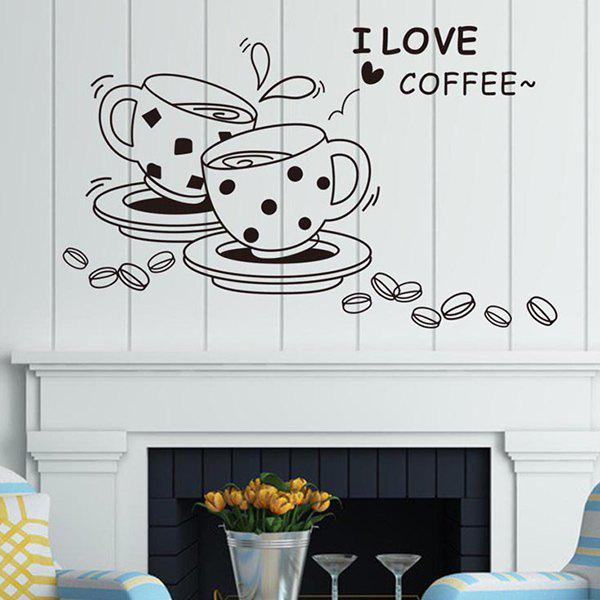 Romantic Words I Love Coffee Cups Pattern Wall Stickers For Decoration - COFFEE