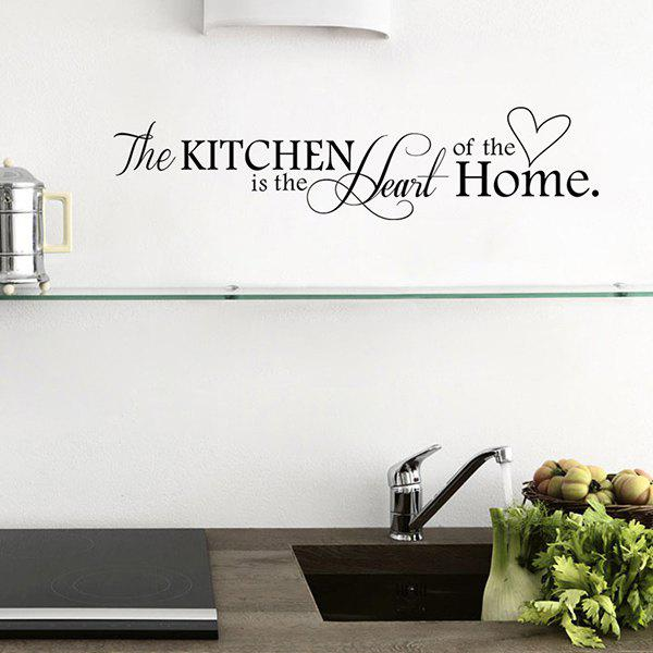 Cute Words The Kitchen is The Heart Of The Home Wall Decal For Decoration - BLACK