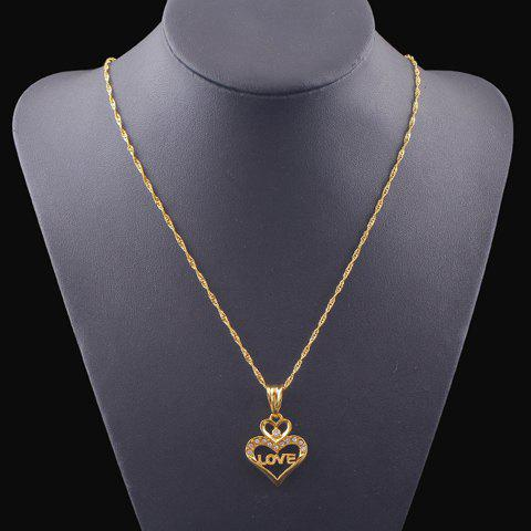 Chic Rhinestone Hollow Out Heart Shape Necklace For Women - GOLDEN