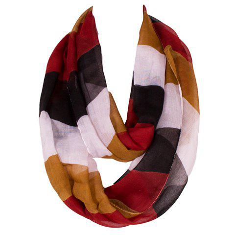 Chic Multicolor Wide Stripe Pattern Women's Voile Scarf - BLACK