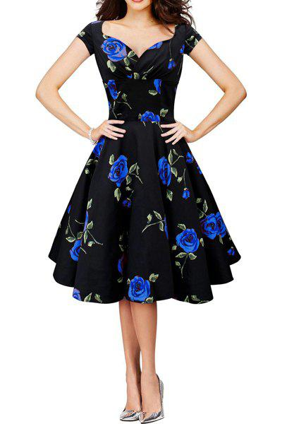 Vintage Style Short Sleeve Sweetheart Neck Ruched Flower Pattern Women's Dress - BLUE M