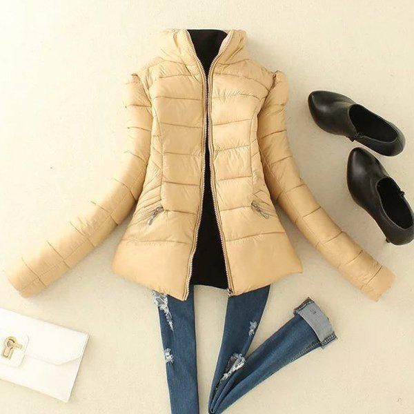 Stylish Women's Stand Collar Long Sleeve Padded Coat - APRICOT M