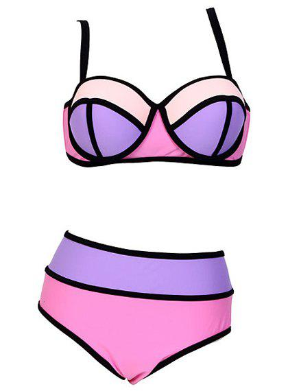 Sexy Spaghetti Strap Hit Color Plus Size Women's Bikini Set