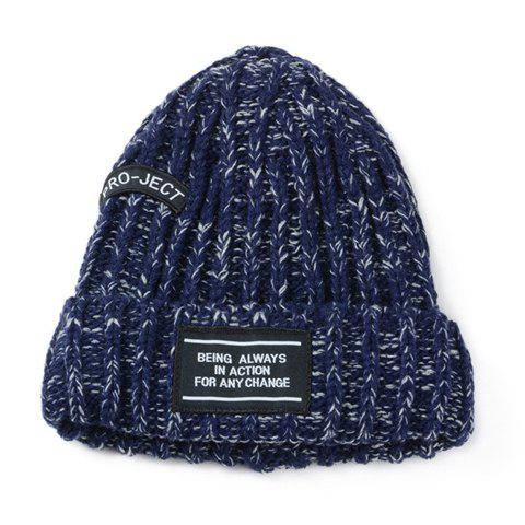 Chic Letters Applique Embellished Women's Knitted Beanie - CADETBLUE