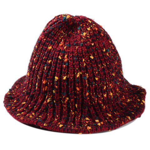 Chic Mixed Color Women's Knitted Bucket Hat - WINE RED