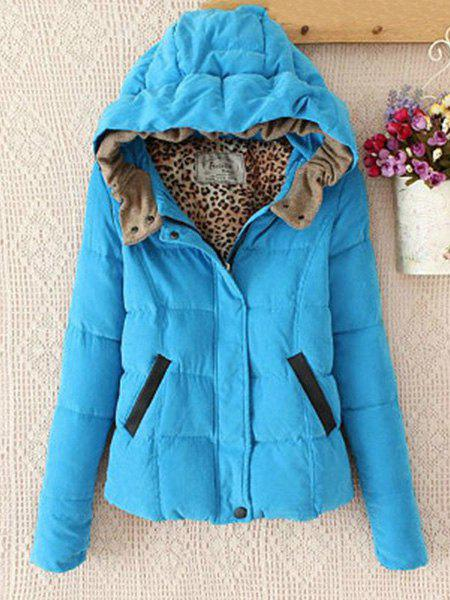 Stylish Women's Hooded Long Sleeves Zip Coat - AZURE 2XL