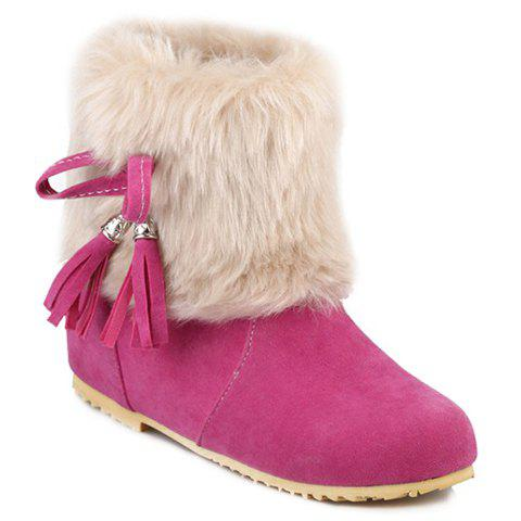 Sweet Tassels and Bow Design Women's Short Boots - ROSE 39