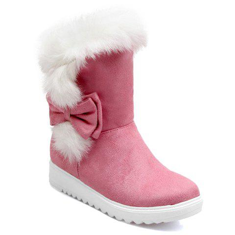 Trendy Suede and Faux Fur Design Short Boots For Women - PINK 39