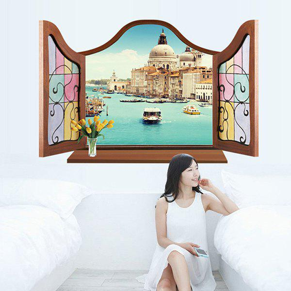 3D Water Venice Pattern Window Shape Removeable Wall Sticker - COLORMIX