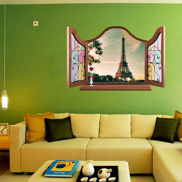 3D Eiffel Tower Pattern Window Shape Removeable Wall Sticker - COLORMIX