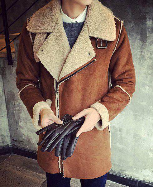 Turn-Down Collar Loose-Fitting Long Sleeve Mens Sherpa CoatMen<br><br><br>Size: M<br>Color: DEEP BROWN
