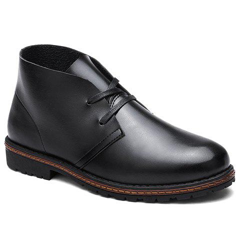 Fashion PU Leather and Solid Color Design Short Boots For Men - BLACK 40