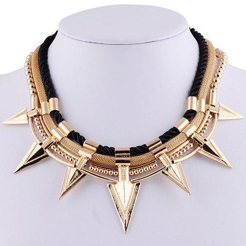 Triangle Rivet Beads Necklace - BLACK