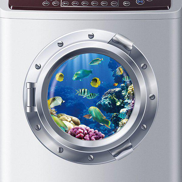 Good Quality Shoal of Fish Pattern Submarine Shape Removeable 3D Fridge Wall Sticker - COLORMIX