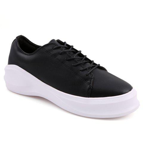 Simple Lace-Up and Pure Color Design Casual Shoes For Men - BLACK 42