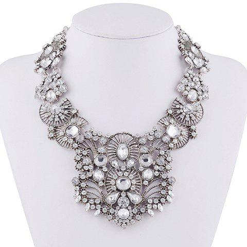 Rhinestone Hollow Out Water Drop Necklace - WHITE