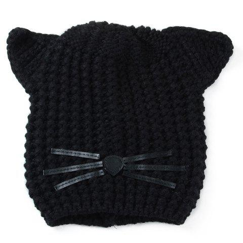 Chic Cat Ear Shape Decorated Women's Knitted Beanie - BLACK
