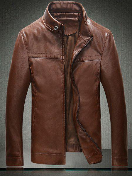 Laconic Stand Collar Solid Color Sutures Design Loose Fit Long Sleeves Men's PU Leather Jacket - GINGER M