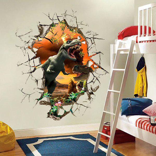 Good Quality Dinosaur Pattern Removeable Waterproof 3D Wall Sticker Home Decoration - COLORMIX