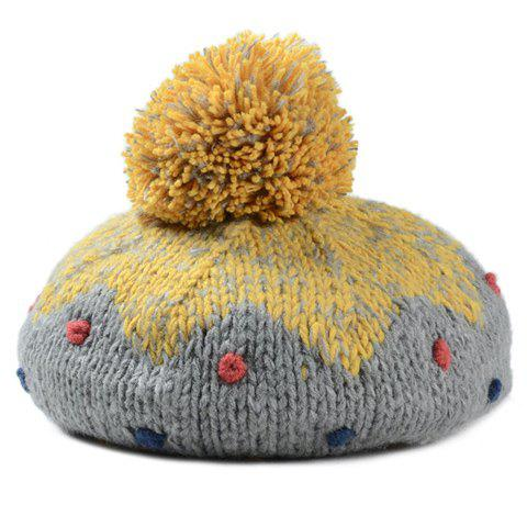 Fashionable Dot and Fuzzy Ball Embellished Women's Knitted Beanie - GRAY