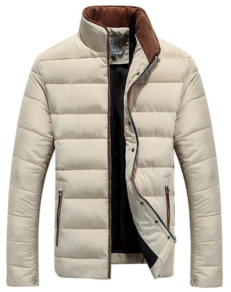 Stand Collar Color Block Purfled Zipper Pocket Long Sleeve Men's Thicken Padded Coat