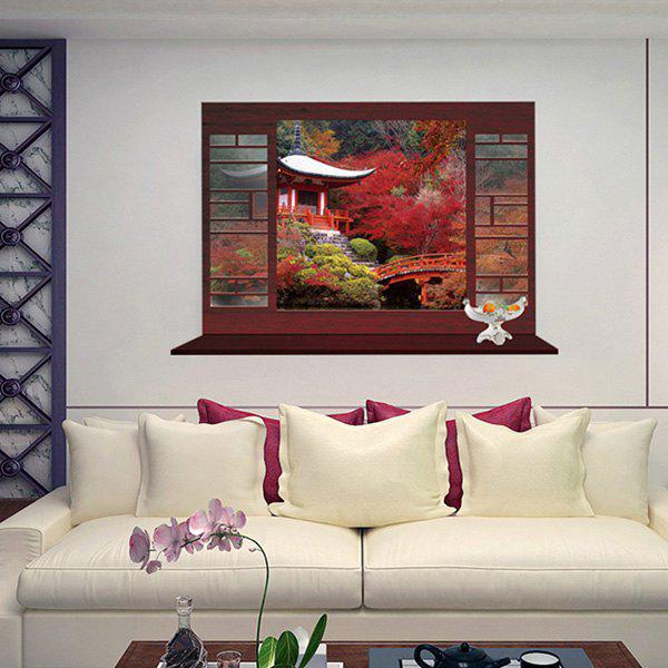 Chic Chinese-Style Garden Landscape Pattern Window Shape Removeable 3D Wall Sticker - COLORMIX