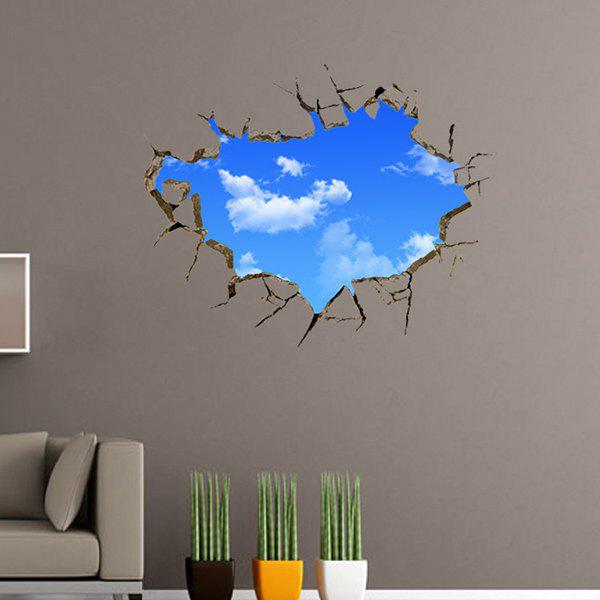 Wall Broken Design Sky Removeable 3D Room Decor Wall Sticker - BLUE/WHITE
