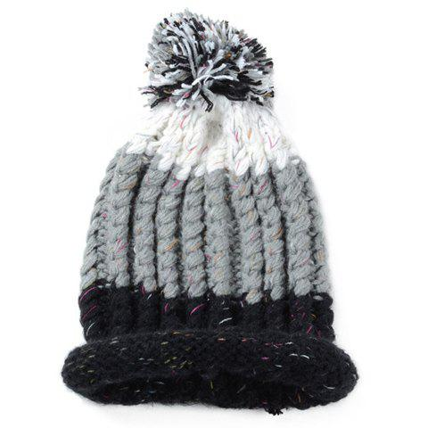 Fashionable Three Color Matching Fuzzy Ball Design Men's Knitted Beanie - GRAY