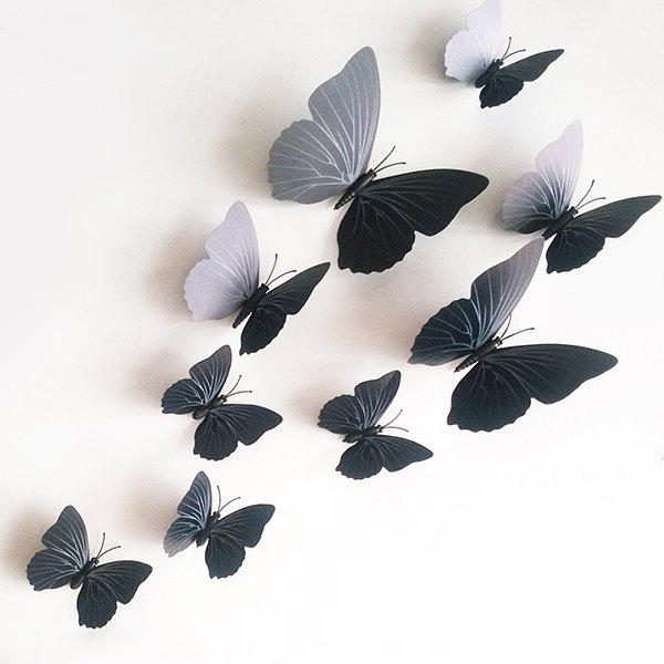 12PCS High Quality Butterfly Shape Removeable 3D Wall Sticker - BLACK