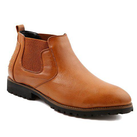 Simple PU Leather and Elastic Band Design Formal Shoes For Men - BROWN 40
