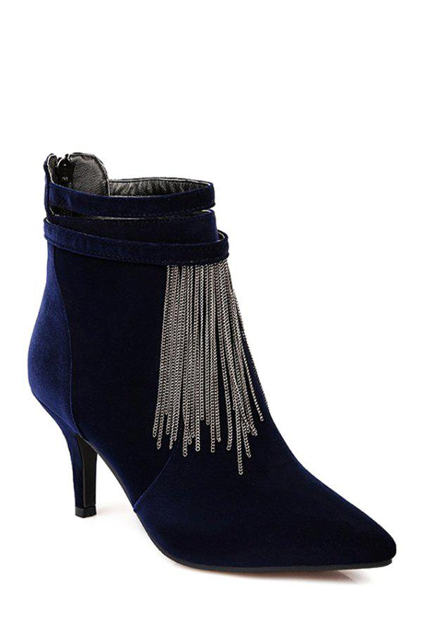 Trendy Fringe and Pointed Toe Design Women's Ankle Boots - BLUE 37
