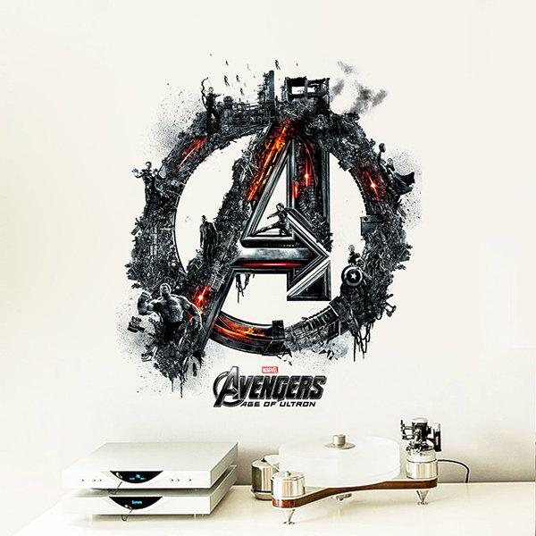 Good Quality Avengers Logo Pattern Removeable 3D Wall Sticker - COLORMIX