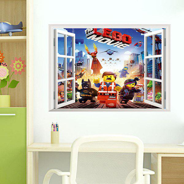 Good Quality Lego Pattern Removeable 3D Wall Sticker Home Decoration - COLORMIX