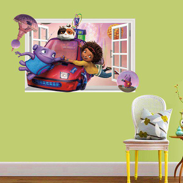 Good Quality Cartoon Character Pattern Window Shape Removeable 3D Wall Sticker Home Decoration -  COLORMIX