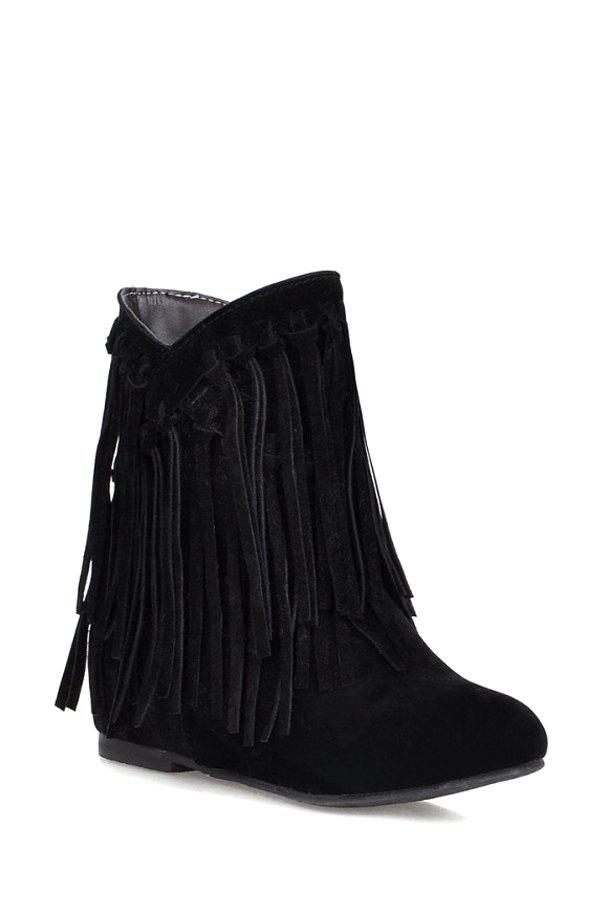 Fashion Style Suede and Fringe Design Women's Short Boots - BLACK 38