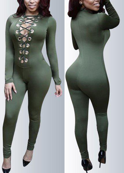 Sexy Plunging Neck Green Skinny Long Sleeve Jumpsuit For Women ...