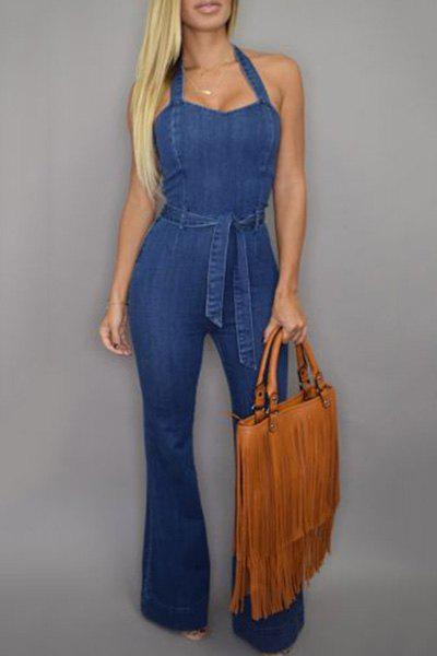 Elegant Blue Halter Sleeveless Jumpsuit For Women - BLUE S